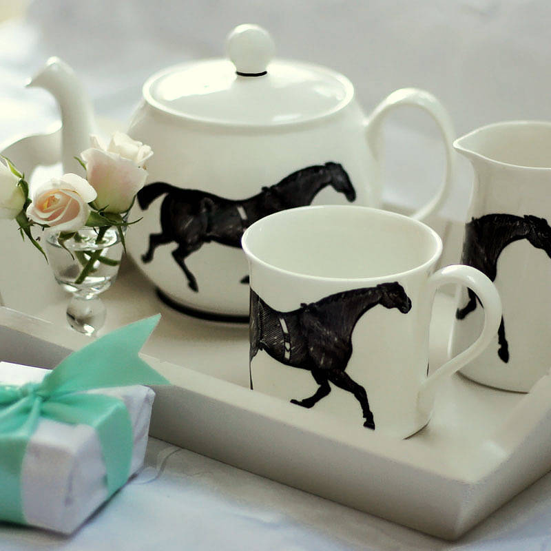 Monochrome Horse Tea Set